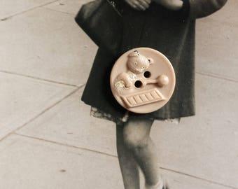 Vintage childs button novelty teddy bear button