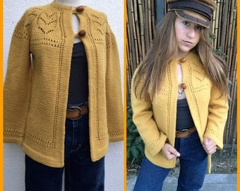 Mustard yellow cardigan | Etsy