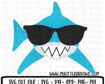 60% OFF SALE - Shark with sunglasses svg - shark svg - boy shark svg -  summer svg - SVG, Dxf, Eps, png Files for Cutting Machines Cameo or