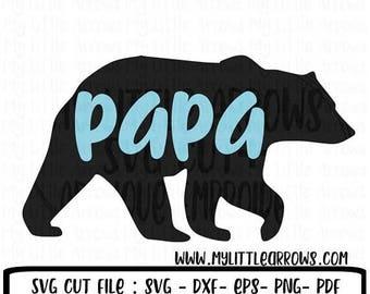 SALE- Papa bear SVG, DXF, Eps, png Files for Cutting Machines Cameo Cricut - woodland svg - black bear svg - papa bear printable - papa bear