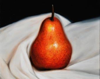 """Daily painting - """"PEAR"""" Sebastian Talar (oil painting, small still life painting, original painting, original art, fine art)"""