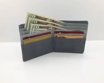 Cash Envelope System Wallet for Cash Budget System –– Men's Slim Bifold Wallet in Grey Waxed Canvas