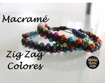 Bangle/Bracelet Macrame Zig Zag model colors / Macrame Bracelet Zig Zag Beads