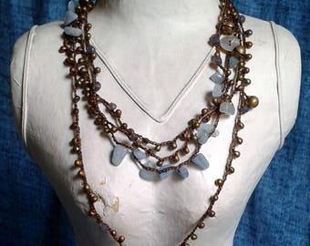 Long necklace, adjustable, boho chic, crochet, crystals, azurite Cod. L29