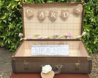 Wedding Card Holder, Rustic Wedding Card Holder, Shabby chic Wedding card box,Wedding card suitcase