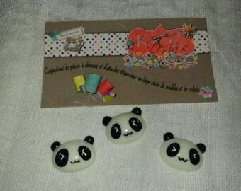 panda cabochon 3 x size 2.1 * 1.5 cm color black and white