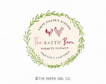 chicken logo farm logo barn logo food blog logo recipe blog logo restaurant logo rustic logo pre made logo chef logo premade logo watermark
