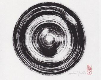 Zen Infinity Circle. Buddhist Art. Enso-zu. Ink Painting. Suiboku-ga. Sumi-e. Japanese Painting. Ichi Enso. Enso-ga. Nihon-ga. Abstract Art.