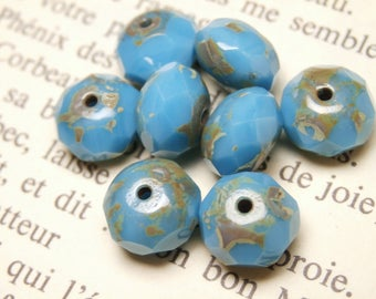 10 faceted beads, Czech glass, turquoise blue 6x8mm abacus R807 picasso finish
