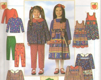90s Simplicity Sewing Pattern 7732 Dress Tunic Jumper Pants Size 5 – 6x Apple Tree