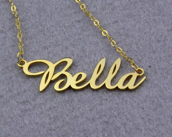 Gold Name Necklace,Personalized Namplate Necklace,Script Font Necklace,Customized Necklace,Dainty Name Necklace,Name Pendant N177