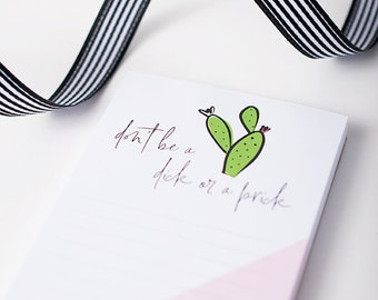 Kitchen Notepad, Cactus Illustration, Modern Stationery, Magnetic List, Gift for Friend, Funny Saying, Grocery List, Small Notepad