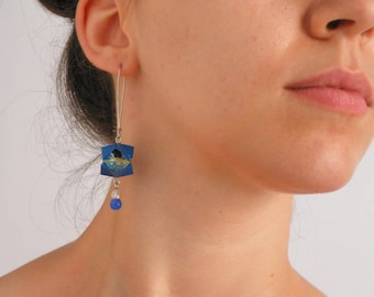 Blue earrings - Origami pops made with paper - RavaPops Collection [SALES - 20%]