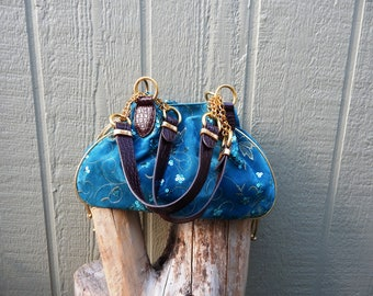 Gently used blue velvet sequined and embroidery embellished hobo bag with gold drawstring sides, gypsy, boho, bohemian, hippy