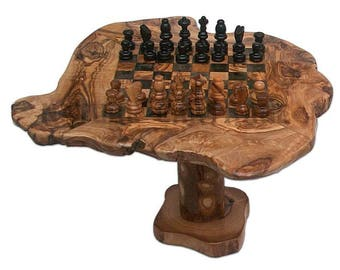 Coffee Table Rustic Olive Wood 25 Cm Wooden Chess Set. Olive Wood Chess Set  Rustic