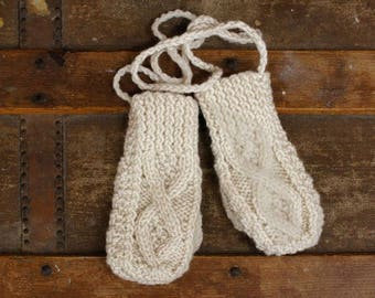 Baby Aran Mittens on a String | Irish Aran Mitts | Wool Mitts for Baby | Traditional Aran Baby Mittens | Cute Baby Mittens