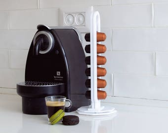 White Nespresso Carousel Capsules Holder, Rotate Coffee Pod Storage, Revolving Base Counter Top Rack, Kitchen Organizer, Coffee Lover Gift