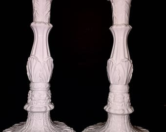 """Mottahedeh Design Candle Holders Made In Italy Hand-Cast Glossy White Porcelain Standing 12.25"""" Tall with 6.5"""" Diameter Foot"""