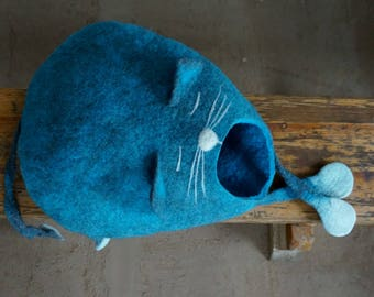 """Cat Bed,  Cat Cave, Cat House, Felted Cat House -""""Cat Sleeps"""", Cat Lover Gift by Indre Naujokiene"""