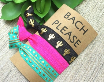Bachelorette Party Hair Ties - Hot Cacti Set of 3 Hair Ties - Hot Pink, Black and Gold, Cactus, Party Favors, Will You Be My Bridesmaid Gift