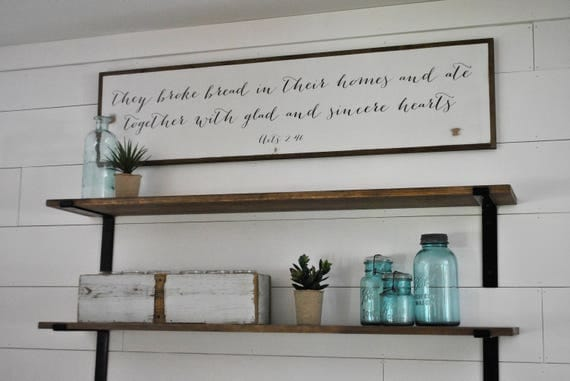 THEY BROKE BREAD in their homes 1'X4' framed sign | distressed shabby chic painted wooden sign | painted wall art | Acts 2:46