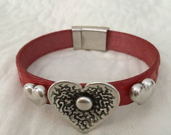 Valentine Hearts on Red Embossed Leather Bracelet