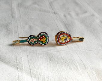 Micromosaic Pins from Italy - Musical Instrument Jewelry - Italian Jewelry - Micro Mosaic Violin and Lute - Micro-Mosaic Pins