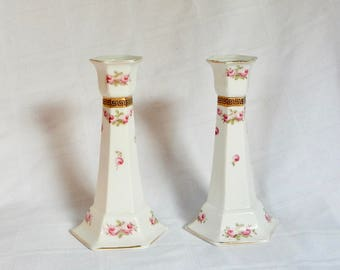 SALE Pair Old Paris Candle Holders - Pair Vieux Paris Candlesticks - Antique Porcelain Candleholders - Hand Painted Porcelain Candle Sticks