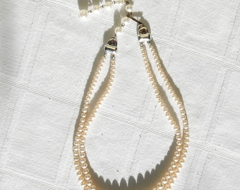 Vintage Two Strand Faux Pearl and Rhinestone Necklace - Unmarked Graduated Faux Pearl Multi Strand Necklace with Art Deco Rhinestone Clasp