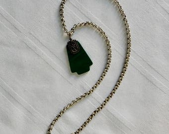 Chinese Malachite Pendant with Chain - Chinese Scroll Pendant - Chinese Amulet Necklace - Vintage Chinese Necklace with Green Striped Stone