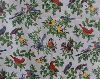 VIP Cranston Print Works Bird Fabric sitting on branches blue multicolor vintage rare and out of print fabric  2 Yard 24 Inches