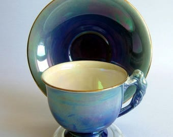 Royal Winton by Grimwades Lustreware BLUE Iridescent Bone China Tea Cup and Saucer