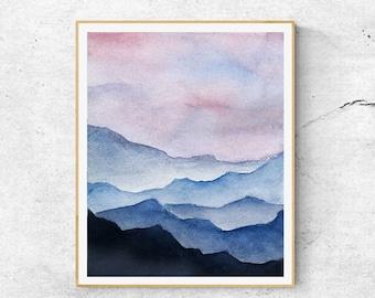 Fine Art Print, Contemporary Art, Watercolor  Mountain Painting, Modern Art, Blue Mountains, Abstract Wall Art, Modern Wall Art Print