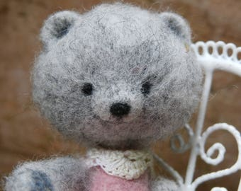 OOAK Artist bear, needle felted bear, mini teddy bear, art bear, dollhouse bear, miniature bear, gray with rose lacedress.2,3inch/ 6cm