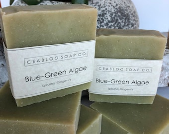 Natural Blue green algae soap, Spirulina anti-aging soap, botanical vegan facial soap, moisturizing, essential oil, handmade gift, gift idea