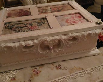 Pink & white Shabby romantic pictures, box