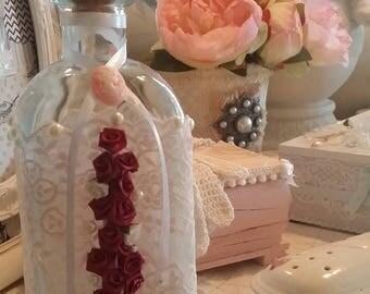 Bath salt bottle little bit Vintage, lace pink powder