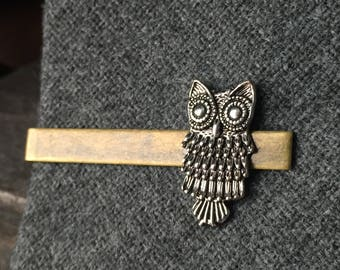 Owl Tie Clip for Mens Gift Ideas for Geeks - Silver Tie Clip - Mens Stocking Stuffer - Tie Clips Men - Animal Tie Clip for Men - Mens Gift