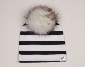 Black and White Stripe Pom Beanie