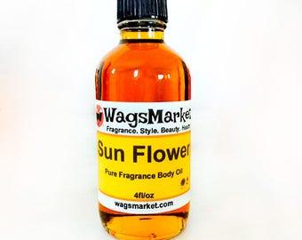 Sun Flower, 4oz Glass Bottle, Pure Fragrance Body Oil ***Free Shipping In U.S.***