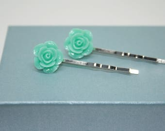 Green Hair Clips, Rose Hair Accessories, Flower Girl Gift, Rose Bobby Pins, Rose Hair Grips, Kirby Grip, Hair Accessories