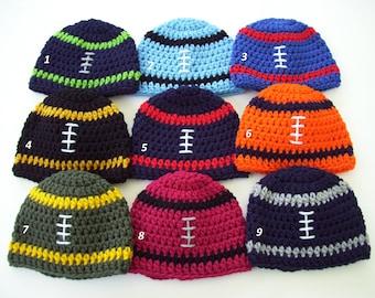 Football Hat, Baby Boy Hat, Football Beanie, Crochet Baby Hat, NFL Football Hat, Toddler Football Hat, Newborn Photo Prop, Baby Shower Gift