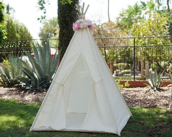 Muslin teepee, kids Teepee, tipi, Play tent, wigwam or playhouse with breathable cotton