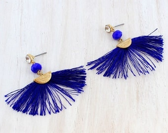 Crystal & Bead Accented Navy Fan Tassel Earrings   These colorful earrings will add the perfect touch to your outfit