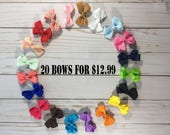 Infant Hair Bow Bundle- 2 inch Hair Bows- Mini Hair Bows- Baby Hair Bows