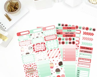 Cupcake Kisses Weekly Kit Stickers! Perfect for your Erin Condren Life Planner, calendar, Paper Plum, Filofax!
