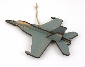 Wooden EA-18 Growler Jet Christmas Ornament