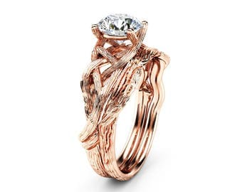Twig Moissanite Engagement Ring Set 14K Rose Gold Moissanite Rings Unique Branch Matching Rings