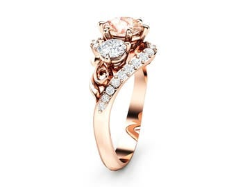 Three Stone Morganite Diamond Engagement Ring 14K Rose Gold Ring Unique Natural Diamonds Ring