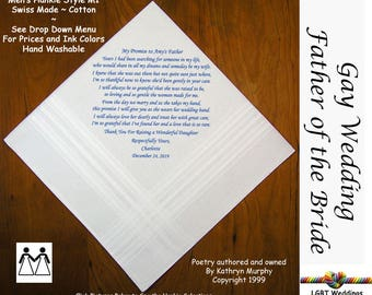 Gay Weddings ~ Father of the Bride Gifts Hankie From His Daughter's Bride  L204  Sign and Date for Free!  FOB Wedding Handkerchiefs